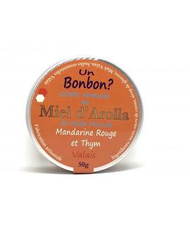 Bonbons au miel d'Arolla et huiles fines de  Mandarine rouge et Thym